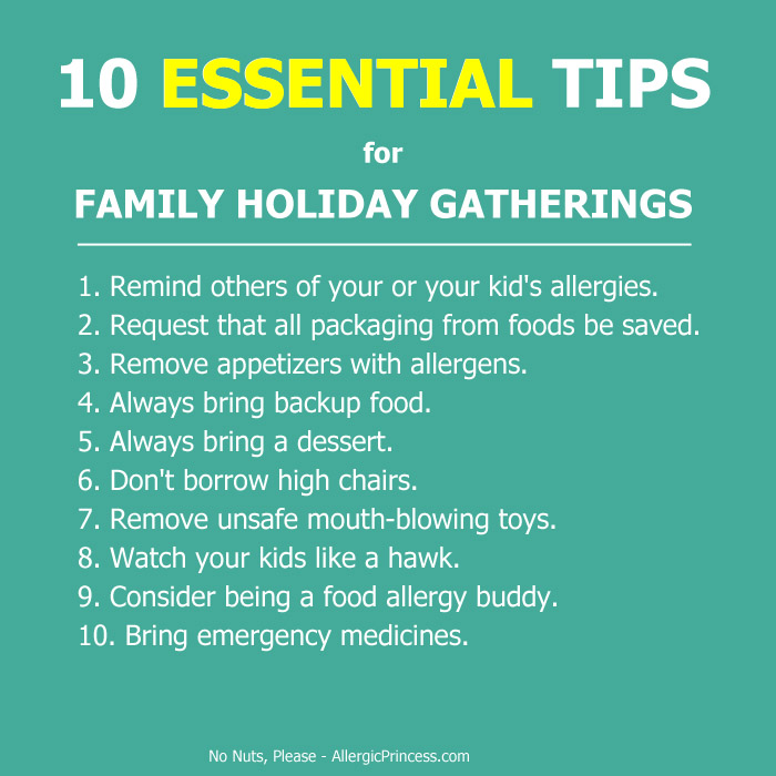 Essential tips for food allergies at family holiday gatherings