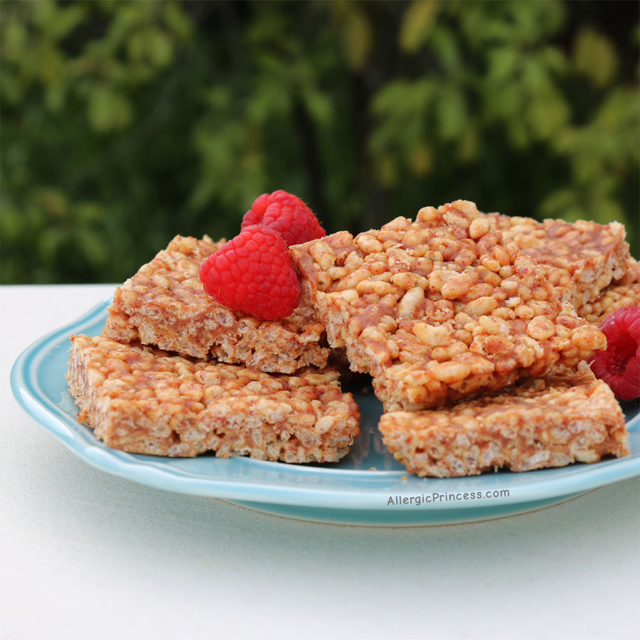 raspberry soy butter rice crispy treats nut free dairy free
