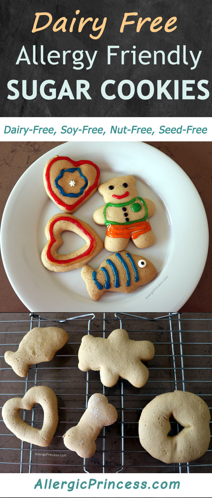 This dairy free sugar cookie recipe makes the perfect dough. Easy to roll out and cut. Delicious and fun to decorate!