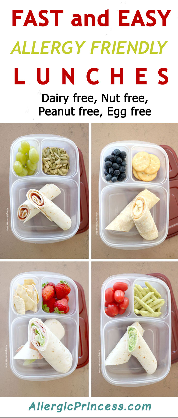 Fast Easy Allergy Friendly Lunches. Free from dairy, nuts, peanuts, eggs.