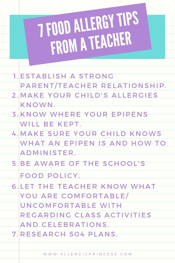 food allergy tips from a teacher