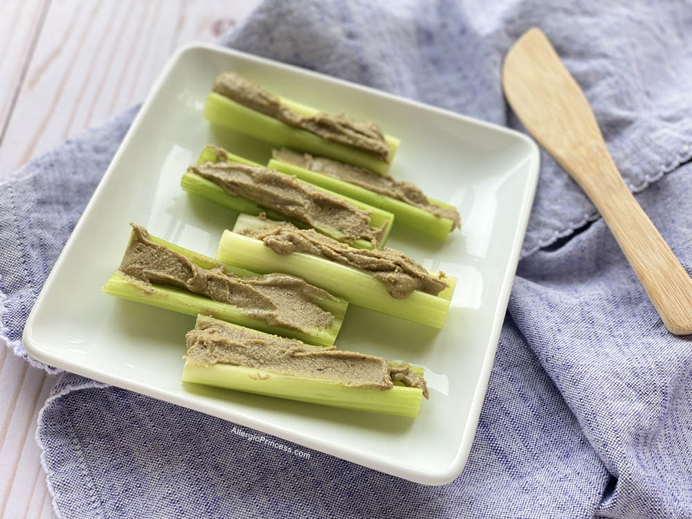 Celery with Gerbs Super 5 Seed Butter