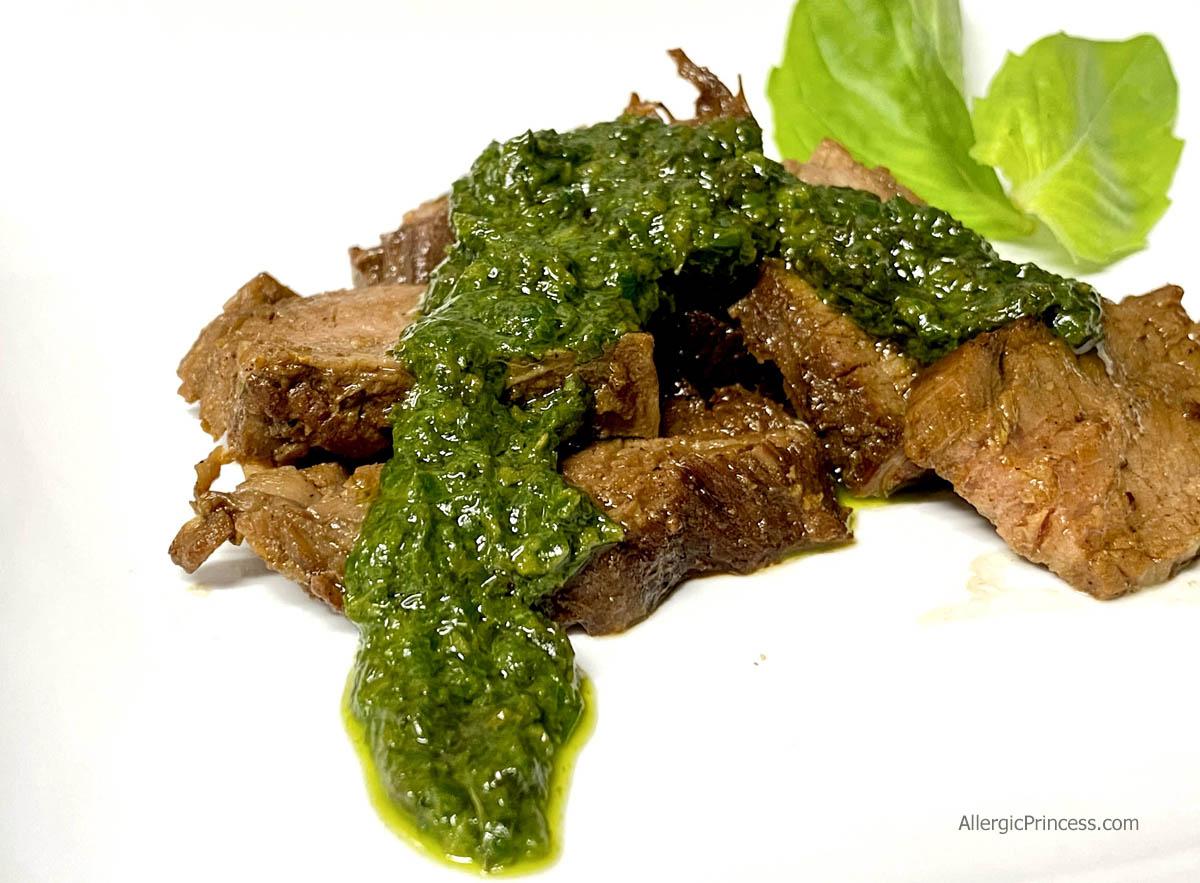 flank steak with pesto