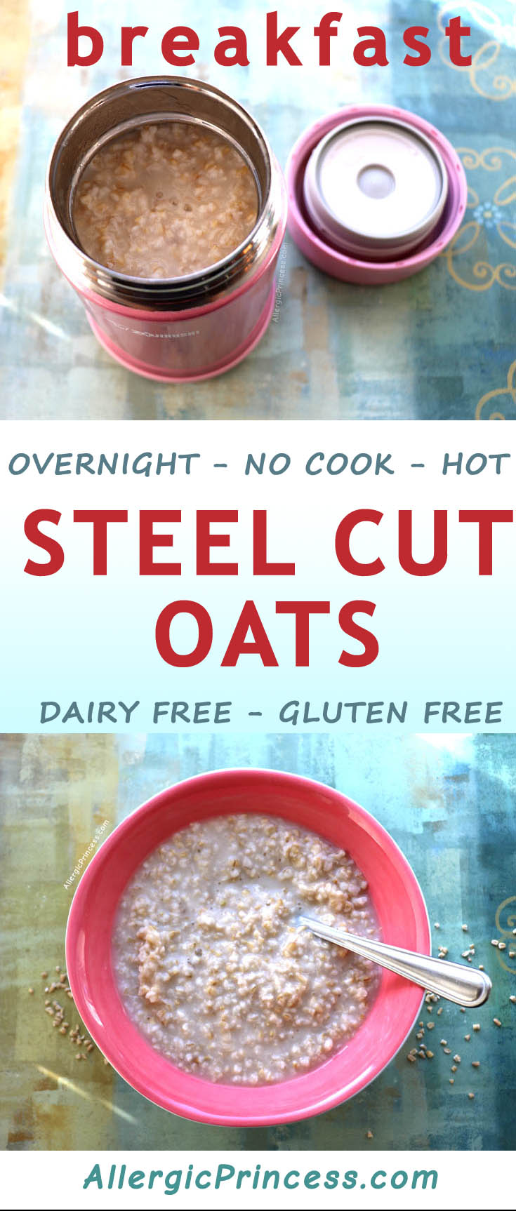 A heartwarming bowl of Steel Cut Oats is possible without cooking! Prepping just a few minutes before going to bed, you will magically have a hot breakfast ready and waiting.