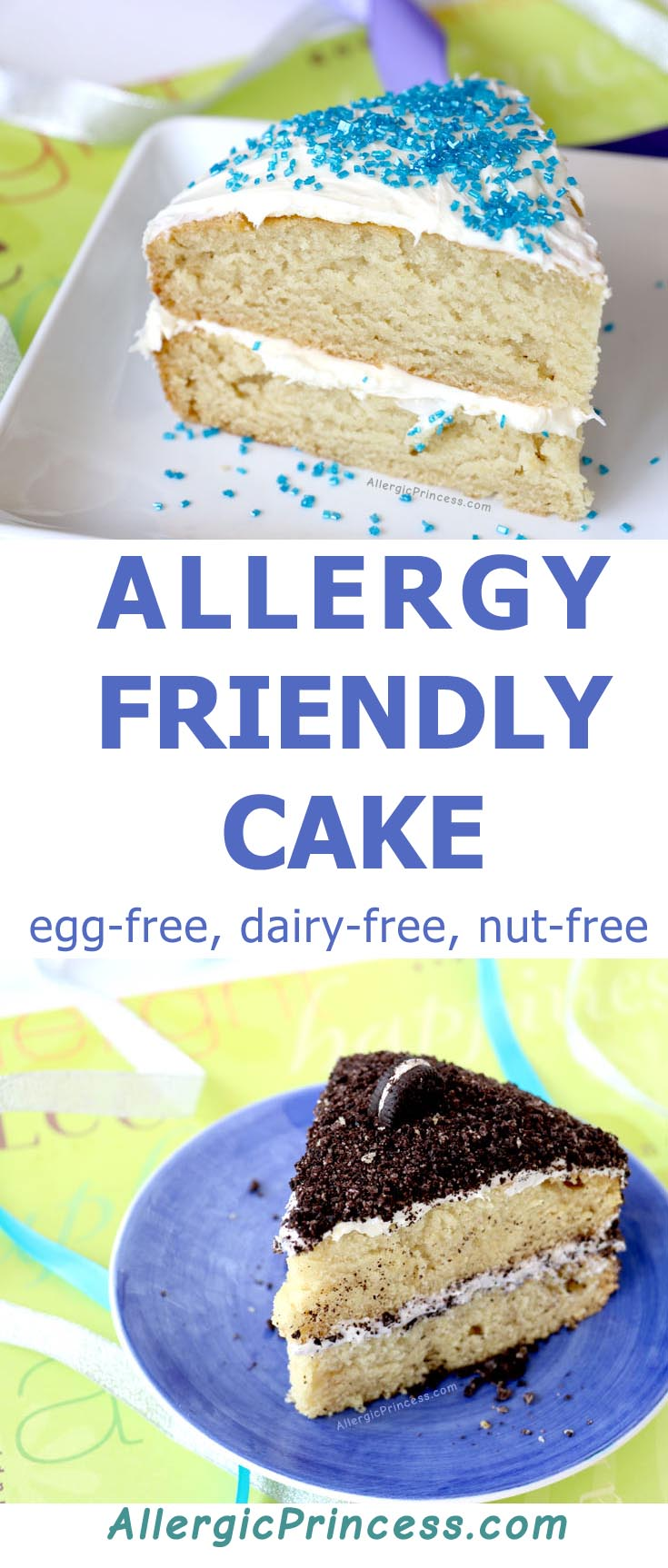 Allergy friendly cake that is egg-free, dairy-free, nut-free.
