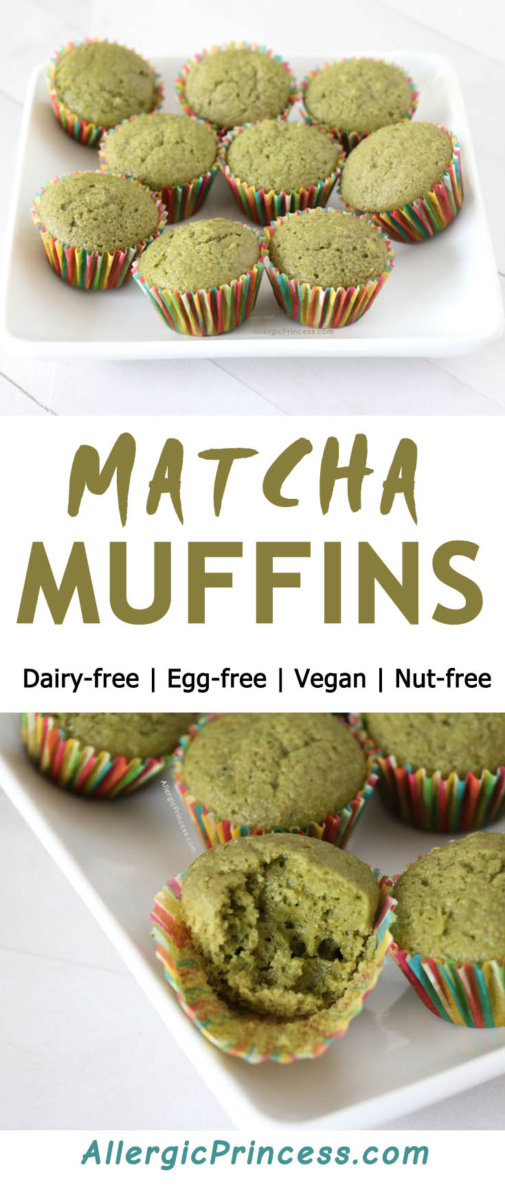 Tasty morsels of matcha love are baked into these dairy free muffins.
