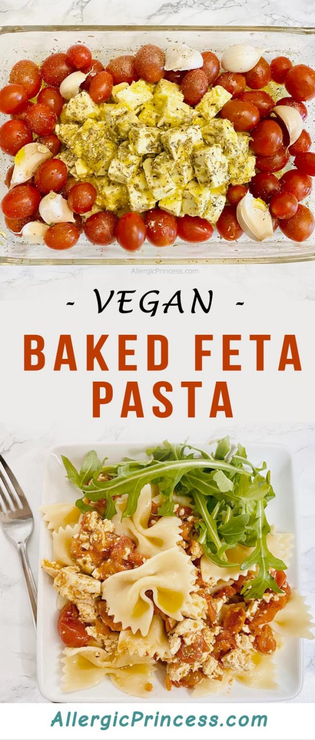 A vegan baked feta pasta is super easy to make with just a few ingredients and a quick bake.